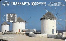 CARTE-PUCE-GREC-100U-SC7-09/97-MYKONOS-Cyclades-Les MOULINS A VENT-UTILISE -TBE - Grèce