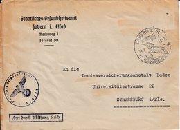 Env Frei Durch Ablösung Reich Obl ZABERN Du 14.9.43 LUFTKURTORT / IN HERLICHER / LAGE Adxressée à Strassburg - Postmark Collection (Covers)