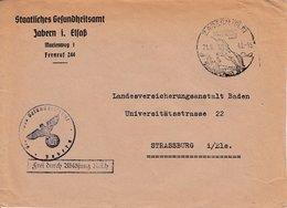 Env Frei Durch Ablösung Reich Obl ZABERN Du 21.8.43 LUFTKURTORT / IN HERLICHER / LAGE Adxressée à Strassburg - Postmark Collection (Covers)