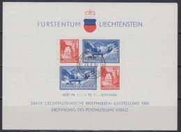 Liechtenstein 1936 Eröffnung Des Postmuseums M/s Used Ca 24 X 36(1st Day)  (44441) M/s With Full Gum - Blokken