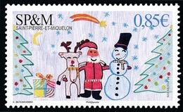 ST-PIERRE ET MIQUELON 2016 - Yv. 1173 **  - Noël. Dessin D'enfant: Renne, Père Noël Et Bonhomme De Neige  ..Réf.SPM11722 - St.Pierre & Miquelon