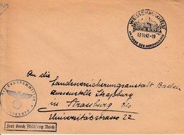 Env Frei Durch Ablösung Reich Obl WEISSENBURG (ELS) Du 02.11.42 AM FUSSE DER NORDVOGESEN Adressée à Strassburg - Postmark Collection (Covers)