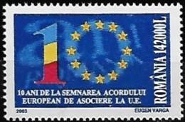 ROMANIA 2003 10 Anniv Signature Accord Européenne à L'Union Européenne , 1 Val MNH - 1948-.... Repúblicas