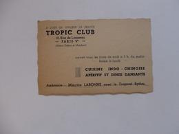 """Carte De Visite """"Tropic Club"""" 10, Rue De Lanneau à Paris Véme. - Cartes De Visite"""