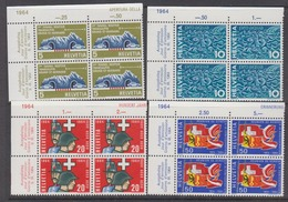 Switzerland 1964 Anniversairies 4v Bl Of 4 (corners) ** Mnh (44442C) - Zwitserland