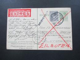GA Mit Zusatzfrankatur Spoedbestelling Expres / Eilboten Karte Stempel L1 Brievensus Und Amszterdam Centr. Station - 1891-1948 (Wilhelmine)
