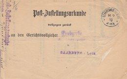 Postzustellungsurkunde Obl IHRWEILER Du 14.9.10 Adressée à Saarburg - Marcophilie (Lettres)