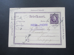 Violetter Stempel Ned: Indie Over Marseille 1893 Frage / Antwort Doppelkarte Nach Leipzig - Nederlands-Indië