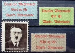 DR Hitler Auf Briefmarke Mit Schnauzbart (Kriegsfälschung ?) + 3 Wehrmachtsaufkleber Lebensmittel Für Niederlande Erh. * - Non Classificati