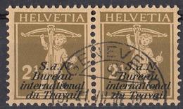 HELVETIA - SUISSE - SVIZZERA - 1928 - Due Yvert Servizio 62 Uniti Fra Loro, Gommati Perfettamente E Timbrati. - Officials
