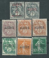 Algérie N° 1 / 8  X Timbres De France Surchargés :  Les 8  Valeurs  Trace De Charnière Sinon TB - Algeria (1924-1962)