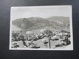Schweiz 1954 Kur Hotel Garten Restaurant Monte Bre Vetta Kulm Echtfoto Ansichtskarte - Hotels & Gaststätten