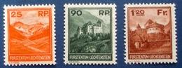 Liechtenstein 1933: Naafkopf Gutenberg Burg Vaduz Zu 98-100 Mi 119-121 Yv 111-113 * Falz MLH (Zumstein CHF 950.00 - 50%) - Liechtenstein