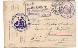 """Prisonnier Dépôt N°2  STUTTGART Pour Le Territoire De Belfort  """"57e Rgt Territorial D'inf.  1914 - Marcophilie (Lettres)"""