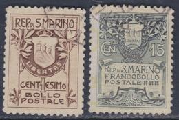 Saint-Marin N° 48A + 49 O  Armoiries  : Les 2 Valeurs Oblitérations Légères Sinon TB - Saint-Marin