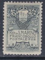 Saint-Marin N° 48 X  Armoiries  : 15 C. Ardoise Trace De Charnière Sinon TB - Saint-Marin