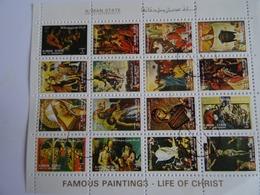 AJMAN STATE - Feuillet De 16 Mini Timbres Oblitérés : Famous Paintings Life Of Christ (vie Du Christ En Peinture), 1972 - Ajman