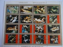 AJMAN STATE - Feuillet 16 Mini Timbres Oblitérés Famous Paintings (peinture Célèbres), 1973 Voir Scan - Ajman