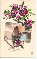 L60A289 - Bonne Année  - Roses Et Volier Dans Le Cépuscule - Noyer N°1170 - New Year
