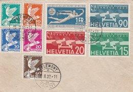 Suisse Série Conférence Du Désarmement Sur Lettre Delemont 1932 - Marcophilie