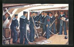 Pc Trafalgar, Kriegsschiff, H.M.S. Victory, The Way They Worked The Guns At Trafalgar, Matrosen An Kanone Unter Deck - Guerra