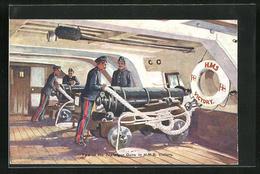 Pc Trafalgar, Kriegsschiff, H.M.S. Victory, Two Of The Trafalgar Guns, Matrosen An Kanonen Unter Deck - Guerra