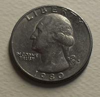 1980 - Etas Unis - USA - QUARTER DOLLAR, Washington, (P), KM A164a - Bondsuitgaven