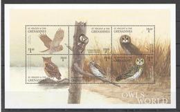 X547 ST.VINCENT FAUNA BIRDS OWLS OF THE WORLD 1KB MNH - Hiboux & Chouettes