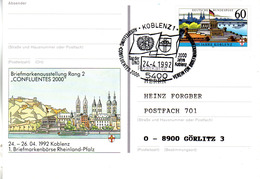"BRD Amtl. GZS-Sonderpostkarte PSo 26 ""1.BM-Börse Rheiland-Pfalz Koblenz"" WSt ""2000 Jahre Koblenz"" SSt 24.4.92 KOBLENZ 1 - BRD"