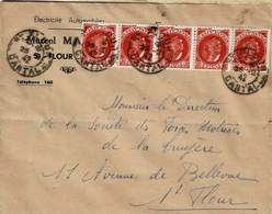 TP N° 506 En Bande De 5 Ex Sur Enveloppe De St Flour - Marcophilie (Lettres)