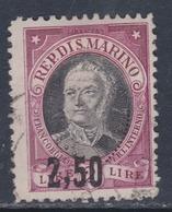 Saint-Marin N° 131 O, Timbre  Surchargé : 2.50 Sur 2 L. Lie De Vin Oblitération Faible Sinon TB - Saint-Marin