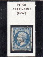 Isère - N° 14B Obl PC 50 Allevard - 1853-1860 Napoléon III