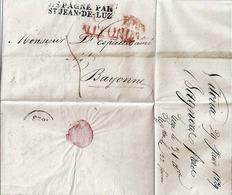 LETTRE-MARQUE POSTALE -précurseur XIX - VITORIA < ESPAGNE Par ST JEAN DE LUZ (29 Janvier 1829) - 1801-1848: Précurseurs XIX