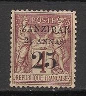 Zanzibar - 1894 - N°Yv. 14 - Type Sage 2 1/2 Anna Et 25 Sur 4c Lilas - Type I - Neuf * / MH VF - Unused Stamps