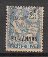 Zanzibar - 1902 - N°Yv. 51 - Type Mouchon 2 1/2 Annas Sur 25c Bleu - Oblitéré / Used - Gebruikt