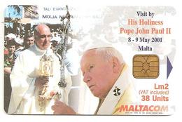 Télécarte à Puce Pape Jean-Paul II De Malte (2001) - Personnages