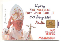 Télécarte à Puce Pape Jean-Paul II De Malte (2001) - Personajes