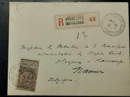 Belgique, Recommande 1896, Cache Bruxelles (quartier Leopold) Et Namur (Station) - 1893-1900 Thin Beard