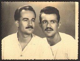 Two Moustache Men Portrait GAY INT Old Photo 12x9 Cm #26242 - Anonymous Persons