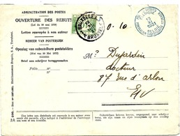 SH 0075. TTx 33 BRUXELLES 1 _ 13.XI.1931 + Càd Bleu POSTES-REBUTS/BELGIQUE S/Lettre De L' Ouverture Des REBUTS. TB - Covers
