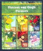 J74- Liberia 2015 Flower Vincent Van Goth Flowers. Painting. - Liberia