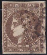 France  .   Yvert   .    47    (2 Scans)   Reparé   .       O          .      Oblitéré - 1870 Bordeaux Printing