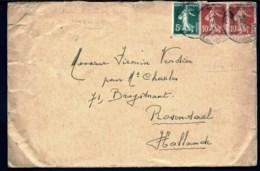 LETTRE AVEC OBLITÉRATION BELGE SUR 3 TIMBRES FRANCAIS POUR LA HOLLANDE- CAD D'ARRIVÉE AU VERSO - Weltkrieg 1914-18