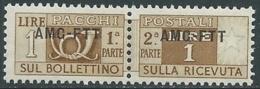 1949-53 TRIESTE A PACCHI POSTALI 1 LIRA MNH ** - UR38-6 - 7. Trieste