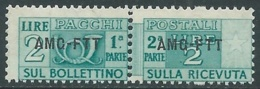 1949-53 TRIESTE A PACCHI POSTALI 2 LIRE MNH ** - UR38-6 - Paketmarken/Konzessionen