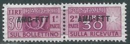 1949-53 TRIESTE A PACCHI POSTALI 30 LIRE MNH ** - UR38-7 - Paketmarken/Konzessionen