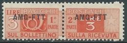 1949-53 TRIESTE A PACCHI POSTALI 3 LIRE MNH ** - UR38-7 - Paketmarken/Konzessionen