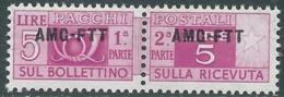 1949-53 TRIESTE A PACCHI POSTALI 5 LIRE MNH ** - UR38-7 - Paketmarken/Konzessionen