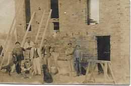 BOURDONS SUR ROGNON - RARE CARTE PHOTO CONSTRUCTION D'UNE MAISON EN BRIQUE ENTREPRENEUR EN BATIMENT Mr TISS??? - Autres Communes