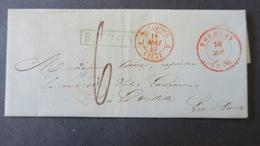 """Belgique Lettre De Tournay 1849 Cachet Encadré Vert  """"R. Front"""" Entrée Par Lille Pour Paris  Taxe 6 - 1830-1849 (Independent Belgium)"""
